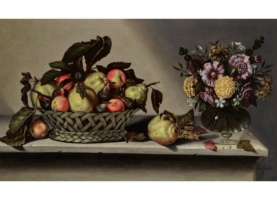 A basket of apples and quinces and flowers in a glass vase on a stone ledge