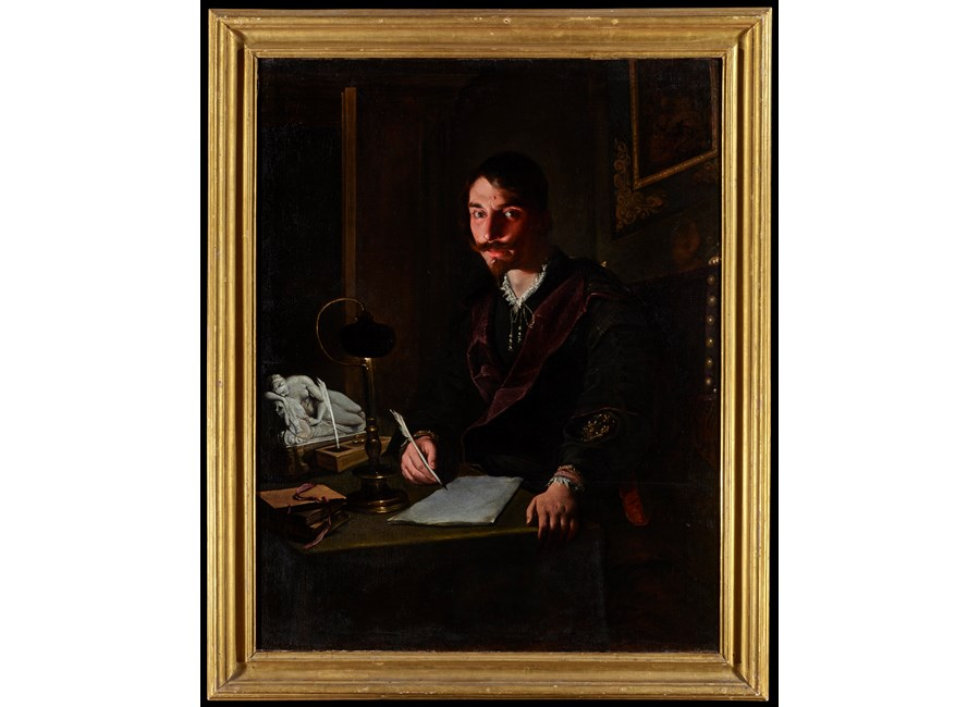 A Portrait of a Man Writing by Candlelight