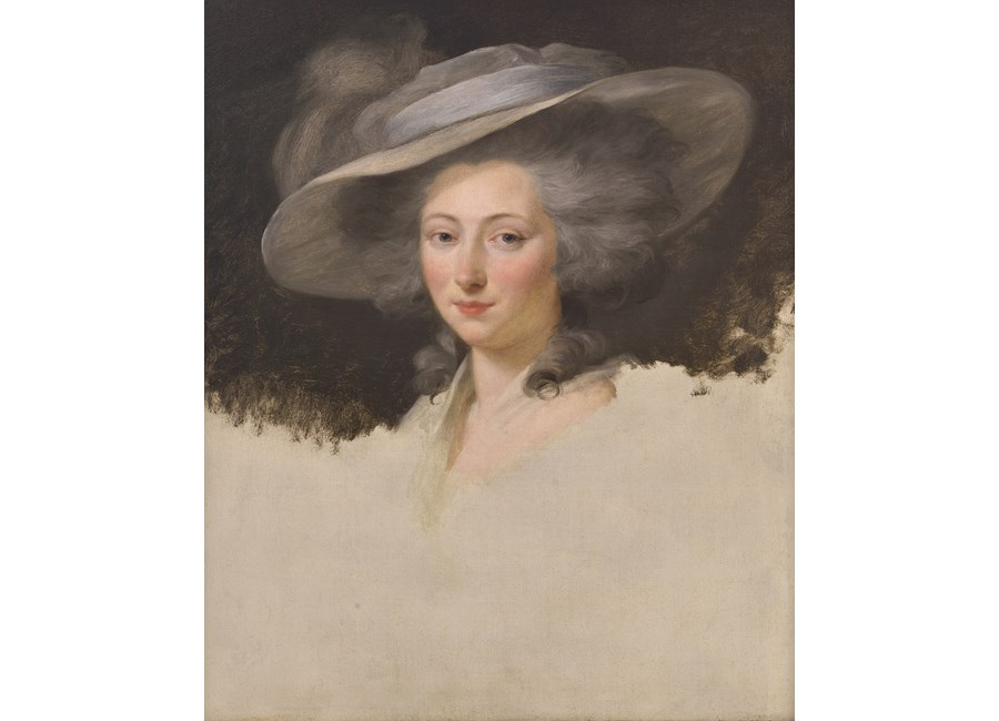 Portrait of a Lady, head and Shoulders, wearing a Grey Hat