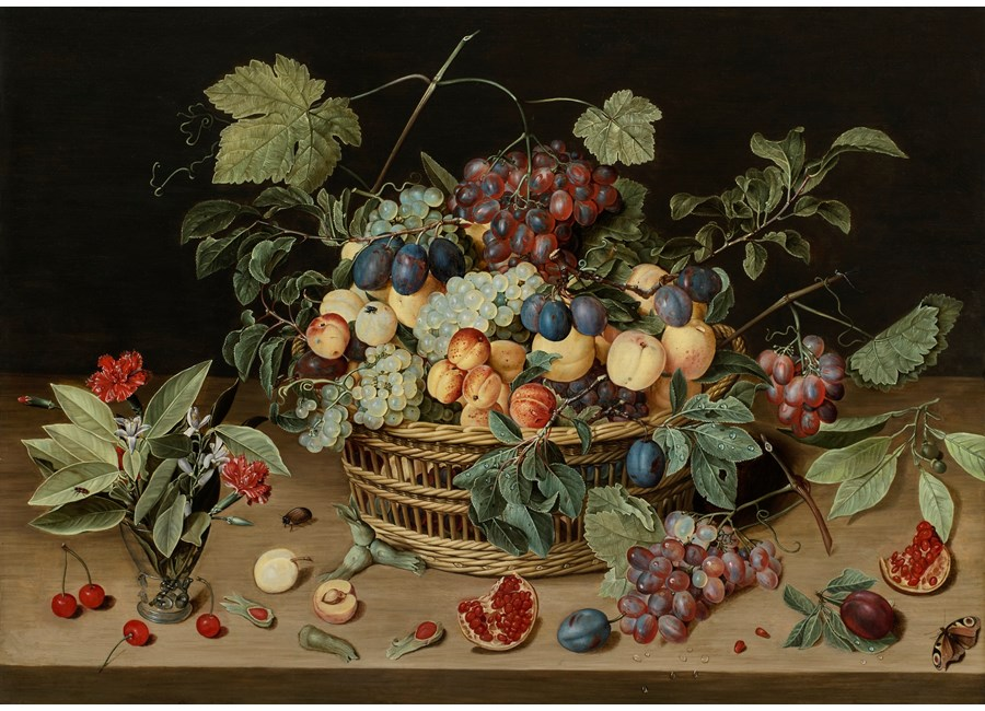 Still Life of a Wicker Basket of Fruit on a Wooden Table