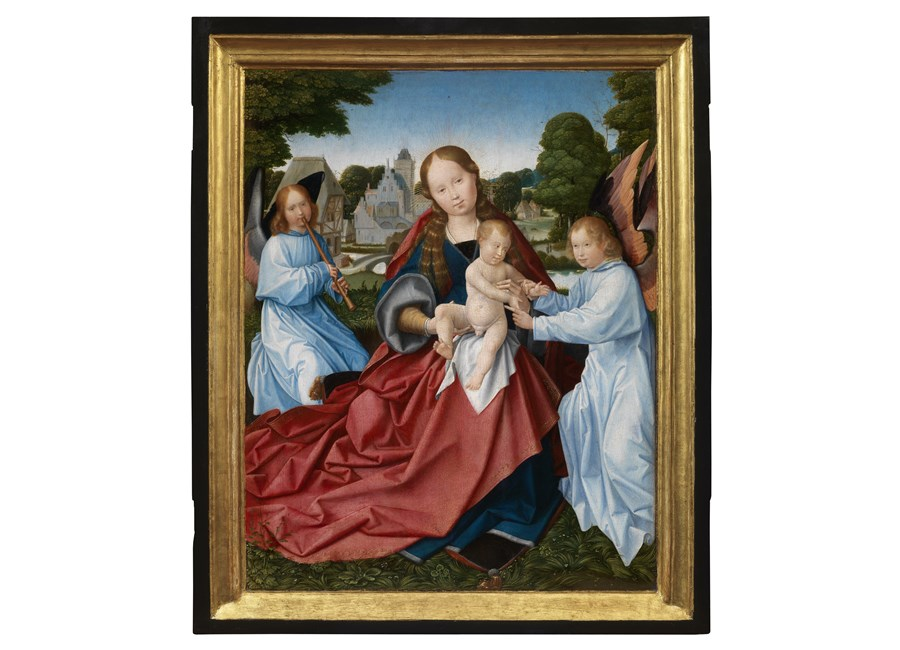 The Virgin and Child with angels, in a landscape