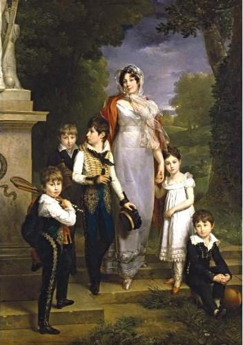 """""""Portrait of Louise-Antoinette-Scholastique Géhénuc, Maréchale Lannes, Duchesse de Montebello, with her children"""""""