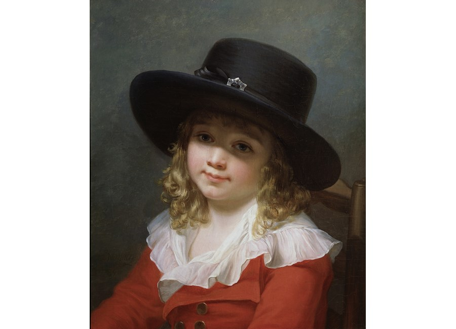"""""""Portrait of a Young Boy wearing a black Hat and red Coat"""""""