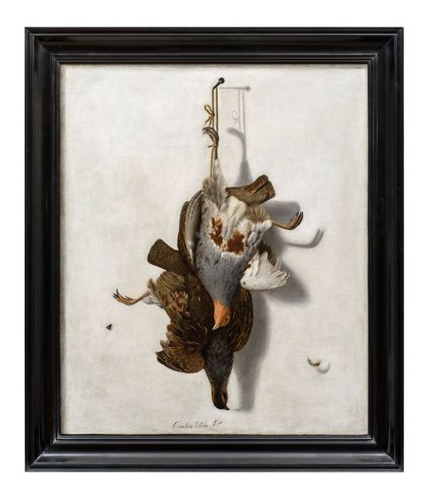 Trompe L' Oeil with a Brace of English Partridge Hanging before a Wall