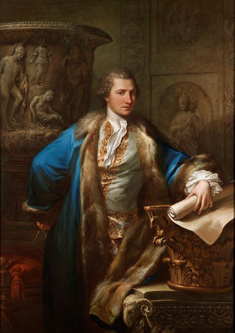 Portrait of James Adam (1732-1794), in an embroidered waistcoat and  fur-lined blue coat, holding a pair of compasses and a scroll