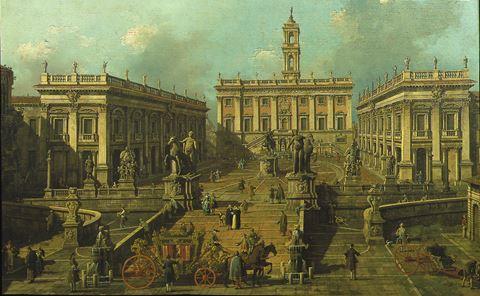 """""""View of Rome: The Piazza del Campidoglio and the Cordonata"""""""