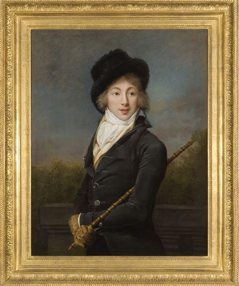"""A Portrait of Auguste Vestris, half length, wearing a Grey Coat and a Fur Hat"""