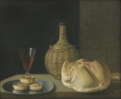 """""""A flagon of wine, a wine glass, a loaf of bread and knife and pies on a pewter plate."""""""
